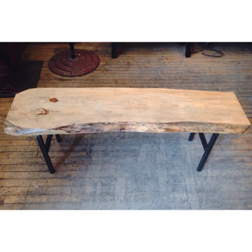 $ Inquire   Live Edge bench. Thick slab of live edge wood with salvaged metal as base. These pieces of wood were specifically salvaged from a farm house North of the City. Each bench looks vastly different from the next and they are incredibly sturdy.