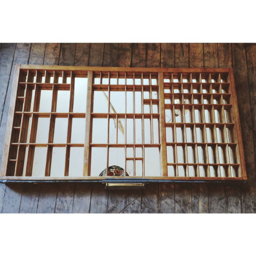 $ Inquire   Letterpress tray converted into a mirror, set for hanging and displaying all your cute travel knick-knacks.