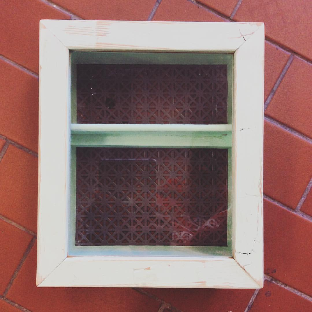 SOLD   A small mountable wall cabinet. This one is mint green but we can make them in any colour! Has a glass pane window and opens and closes. An adorable way to store and display curios.  More pics: [  x  ]