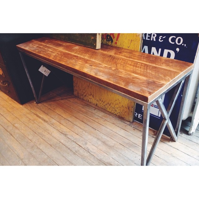 $ Inquire   Our carpenter made this from salvaged wood, and hand crafted the steel legs from salvaged materials as well