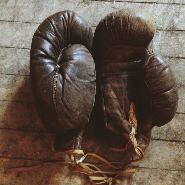 Pair of antique boxing gloves purchased by our friends at the   Indie Ale House  .