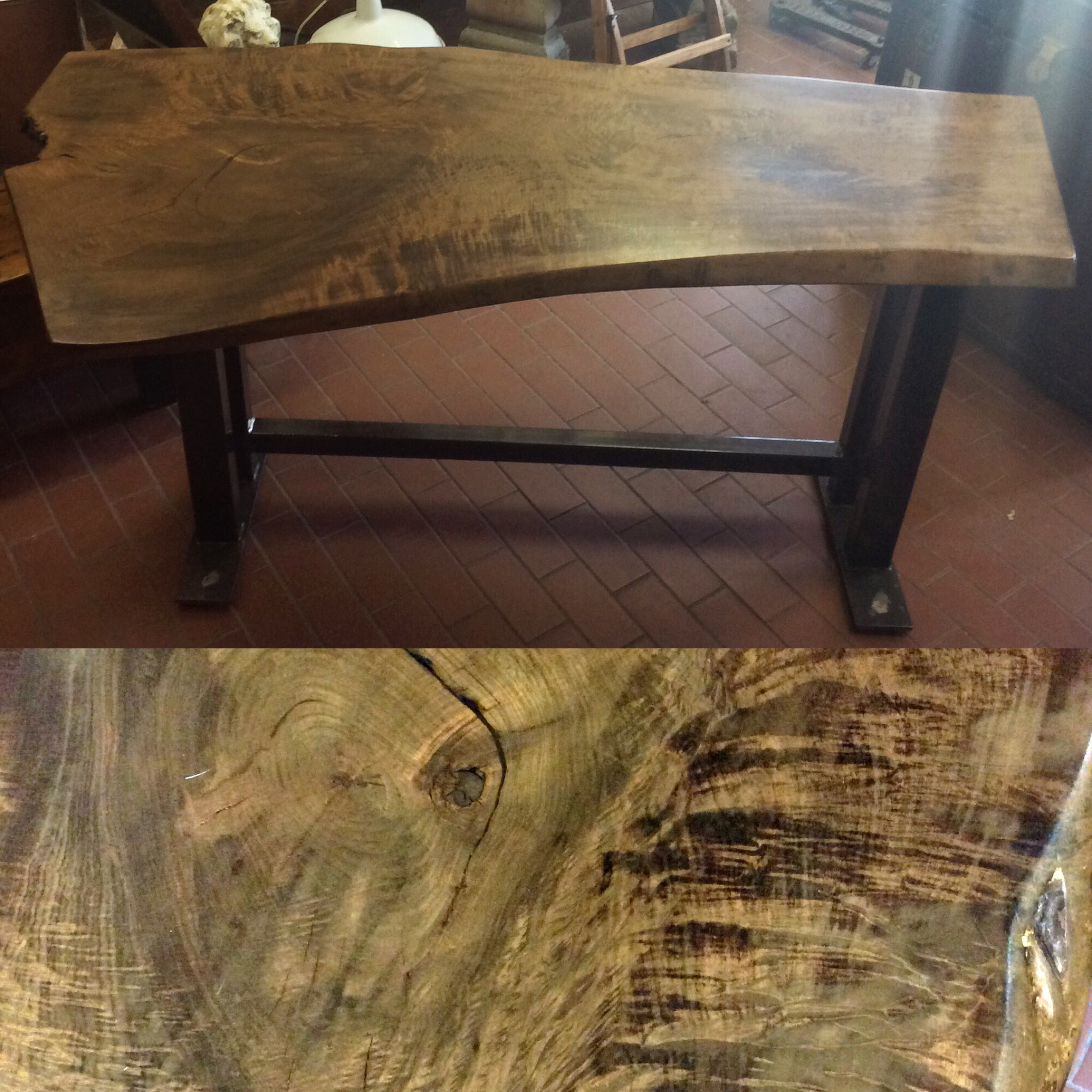 $1475   Lovely large live edge table with reclaimed metal legs. This smooth, thick cut slab of walnut came from a Canadian demolition site and was polished up into what you see now.