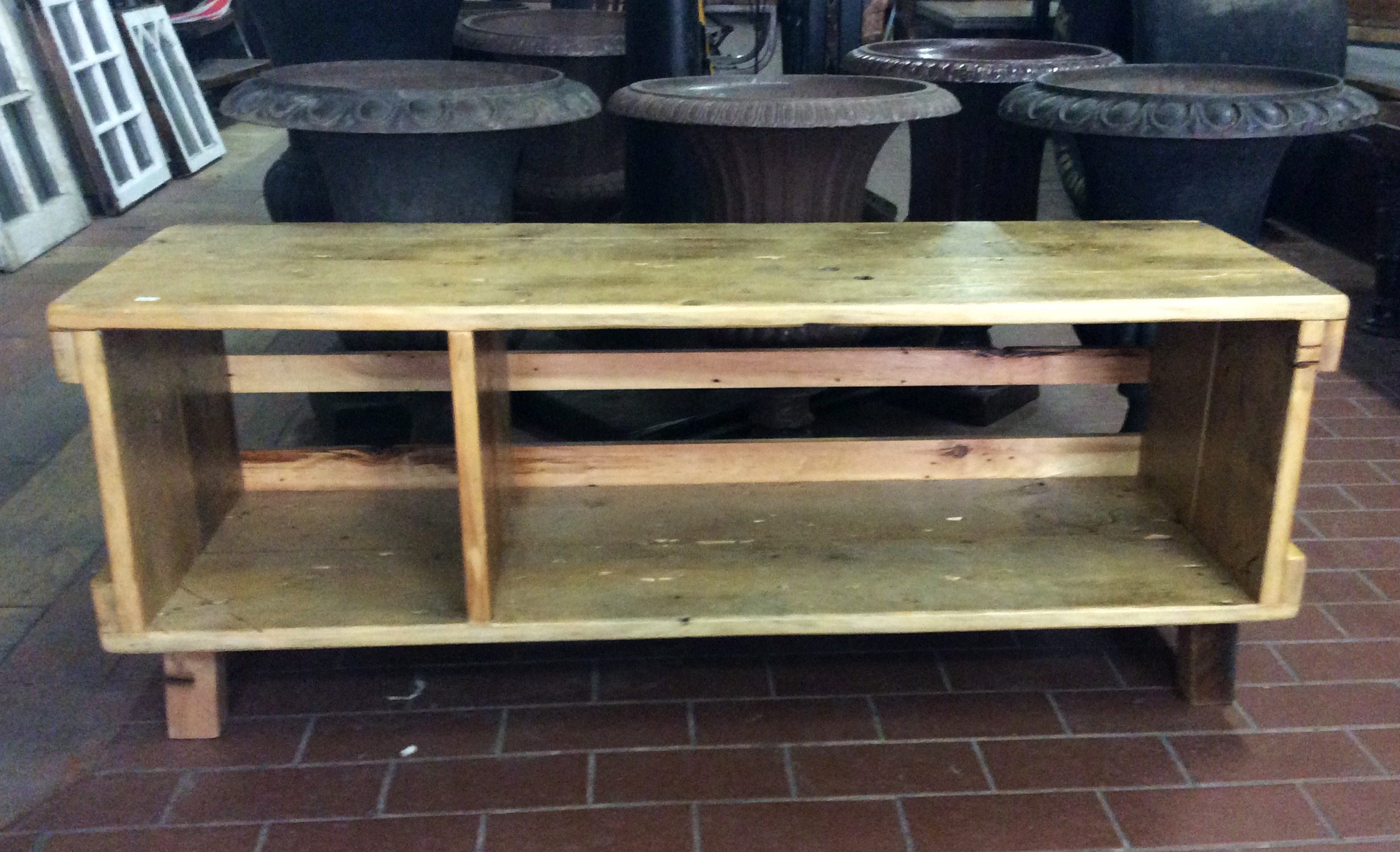 SOLD    Made of the same materials as our thick wooden crates, we put together this rustic little table perfect for a tv stand, coffee table, or bookshelf.