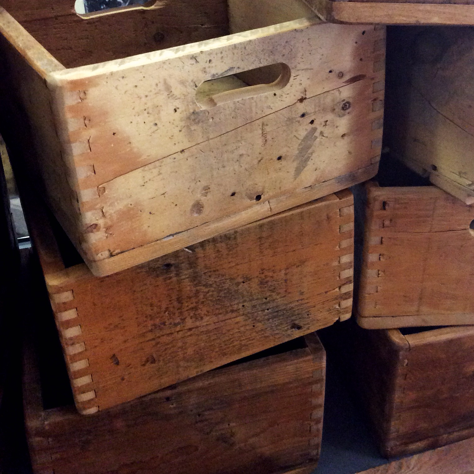 $70 ea   Brand new crate types! These were created to have neat looking edges. Each one is unique and made of old reclaimed wood. Some have natural holes and knots, and wear from weather and age. These beautiful crates are slightly smaller than our original large crates and can also be customized with a logo or name!