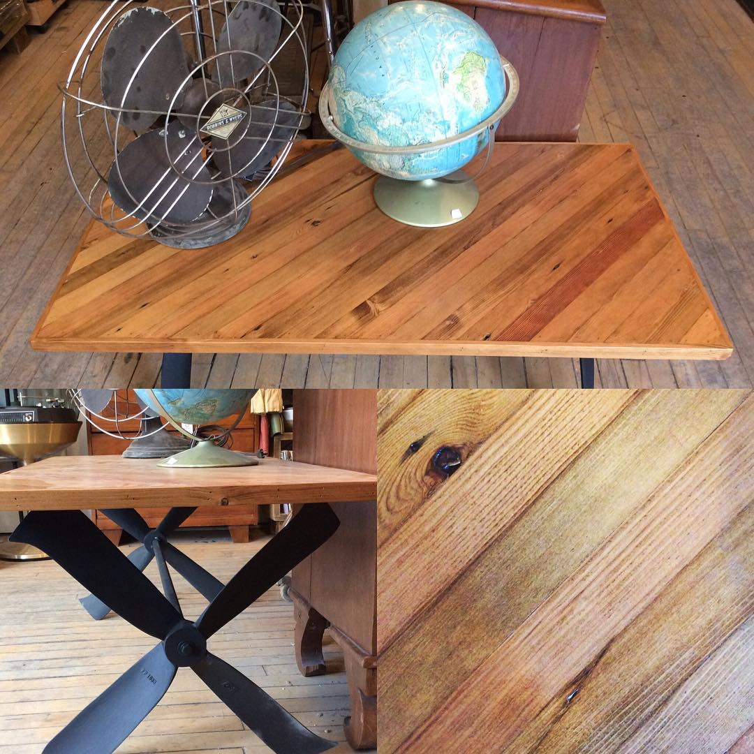 "$300   Neat plane propeller blade coffee table! Made completely out of salvaged materials. 42.5"" L x 22.5"" W x 19"" H"
