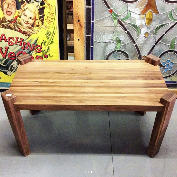 $350   Small reclaimed walnut mid century modern side table. The wood grains are very prominent in this series of walnut furniture. Measures 28'' L x 14.5'' W x 14.5'' H.