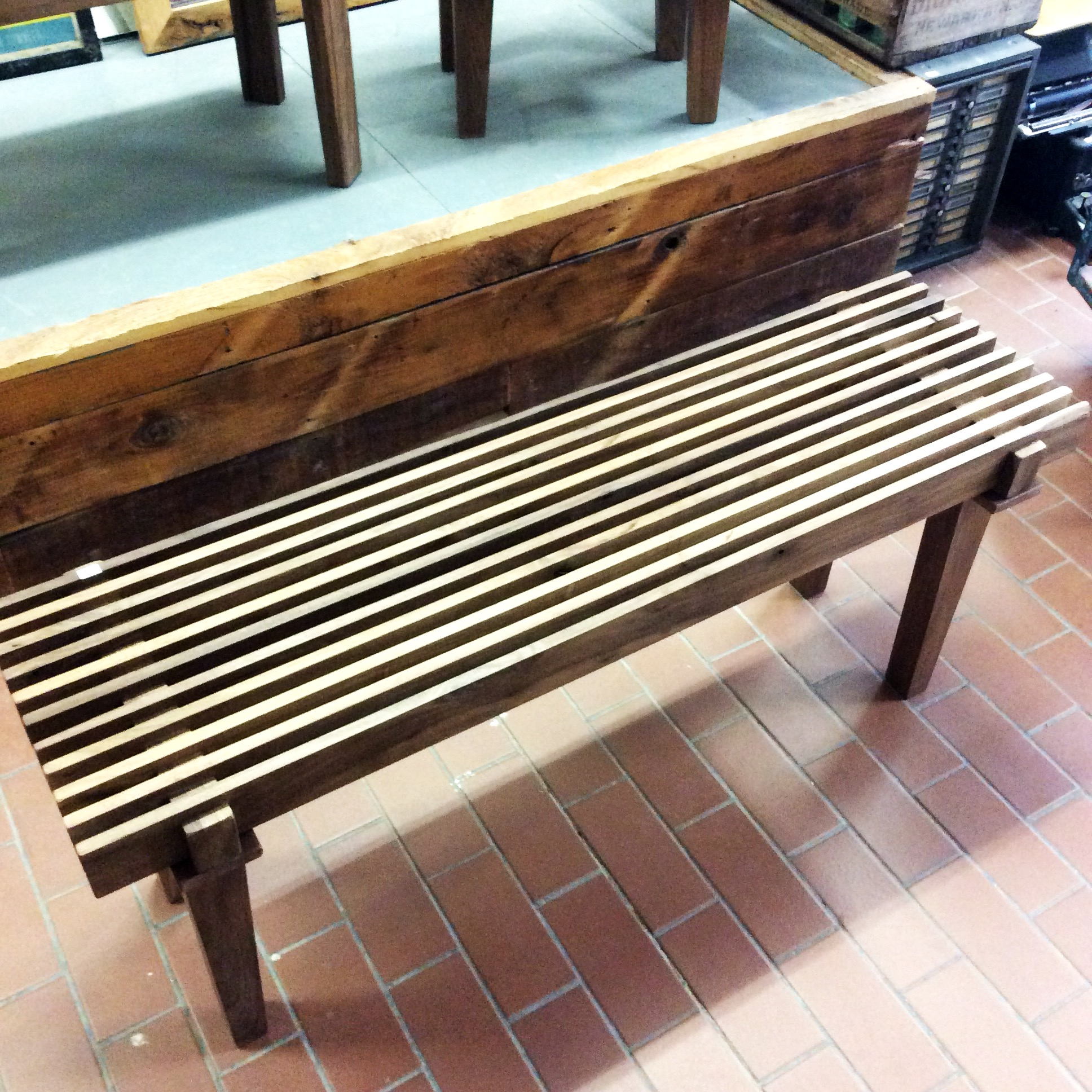 $ Inquire   Reclaimed Walnut bench.