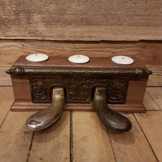 $120   Piano candle holder made from an antique Heintzman & Co. piano. Solid walnut base.