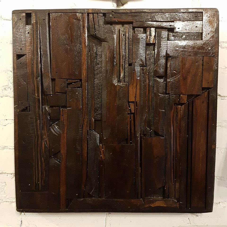 "$200   Custom wall hanging made from reclaimed walnut. 19"" x 19"" x 2""."