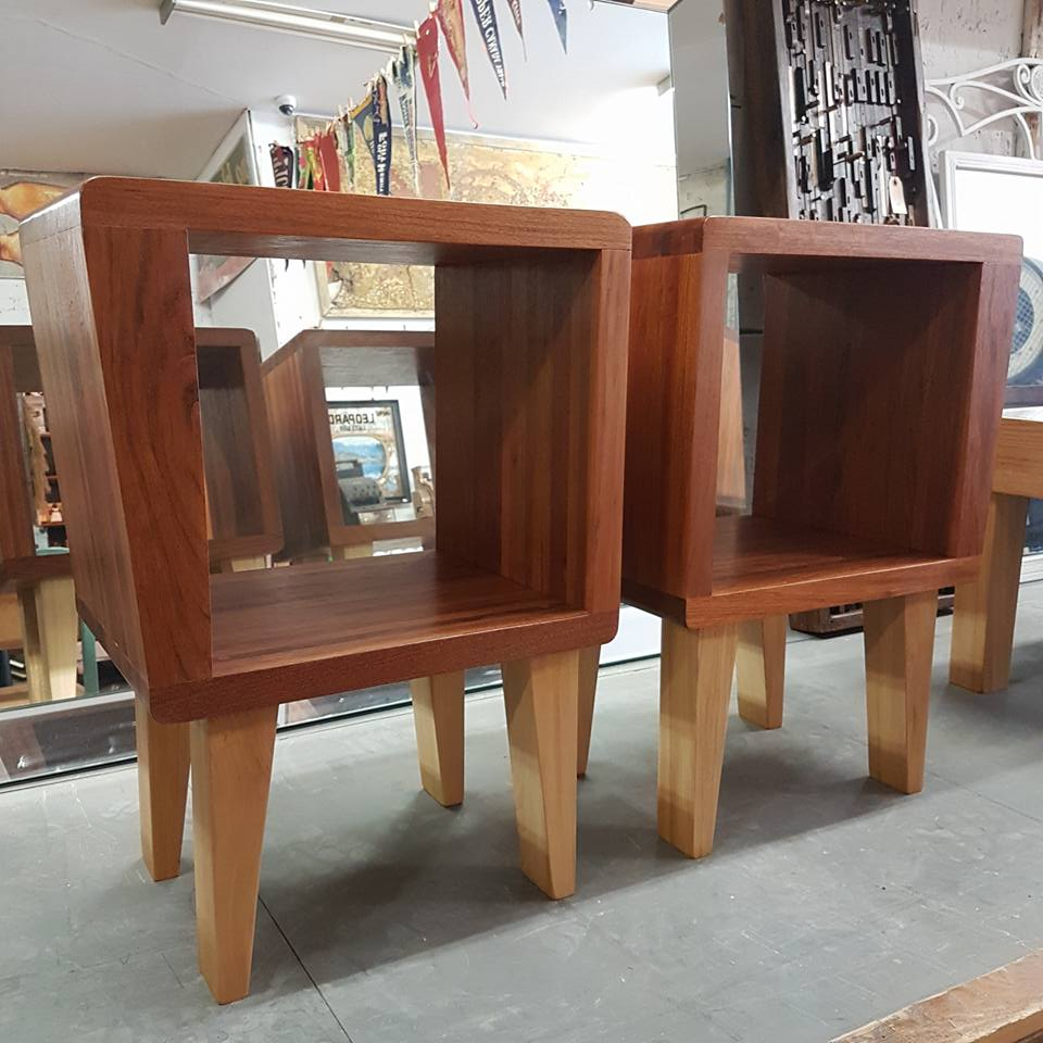 "$800 Pair   Reclaimed cherry and birch end tables. Fits vinyl perfectly! Measures 18"" L x 13"" W x 25.5"" H"