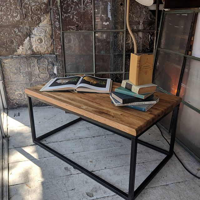 Brand new pieces in our window front. Need a new living room set? Come have a look at this beautiful set of 2 side tables and coffee table. Thick Oak Tops with metal bases. Have to see them in person! #reclaimedwoodfurniture #reclaimed #reclaimedwood #salvage #upcycle #repurpose #woodworking #sidetables #coffeetable #customfurniture #junctionto #junctionstores