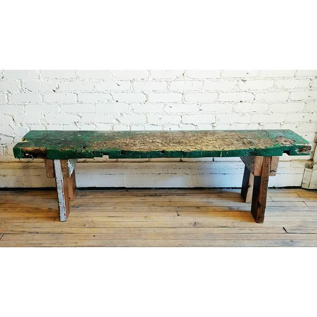 This salvaged workbench turned sitting bench will make your friends green with envy. . . . #junctionstores #junctionto #salvage #architecturalsalvage #design #interiordesign #decor #madeinthejunction #vintage #antiques #woodworking #woodmanns #reclaimedwood #customfurniture #custommade #bespoke #reducereuserecycle #bench #workshop