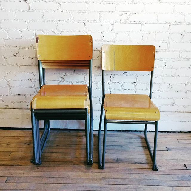 Relive your grade school assemblies with these stackable bent plywood chairs. 12 available! . . . #tbt #vintage #salvage #retro #antiques #decor #design #interiordesign #gradeschool #chair #schoolassembly #furniture #reducereuserecycle #nostalgia #junctionstores #junctionto #architecturalsalvage #jsbell #bentplywood