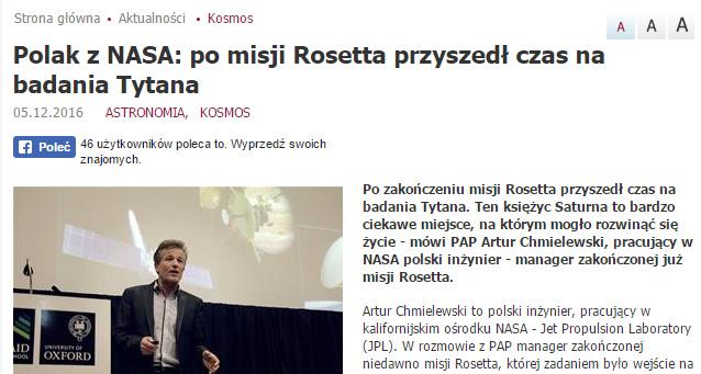 Polak z NASA: po misji Rosetta przyszedł czas na badania Tytana - naukawpolsce.pap.pl
