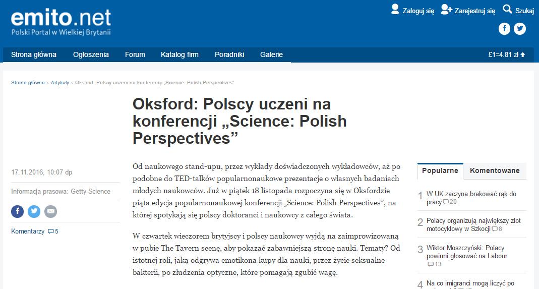 "Oksford: Polscy uczeni na konferencji ""Science: Polish Perspectives"" - emito.net"