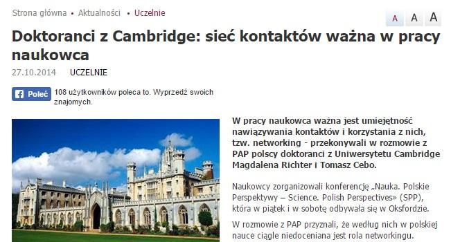 Doktoranci z Cambridge: sieć kontaktów ważna w pracy naukowca - naukawpolsce.pap.pl