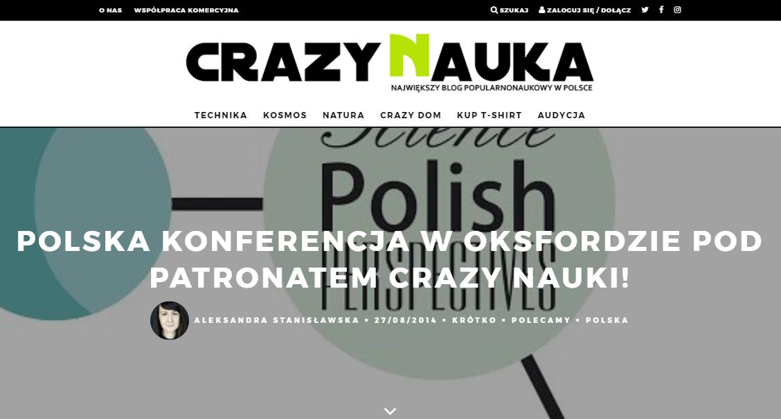 Polska konferencja w Oksfordzie pod patronatem Crazy Nauki! - crazynauka.pl