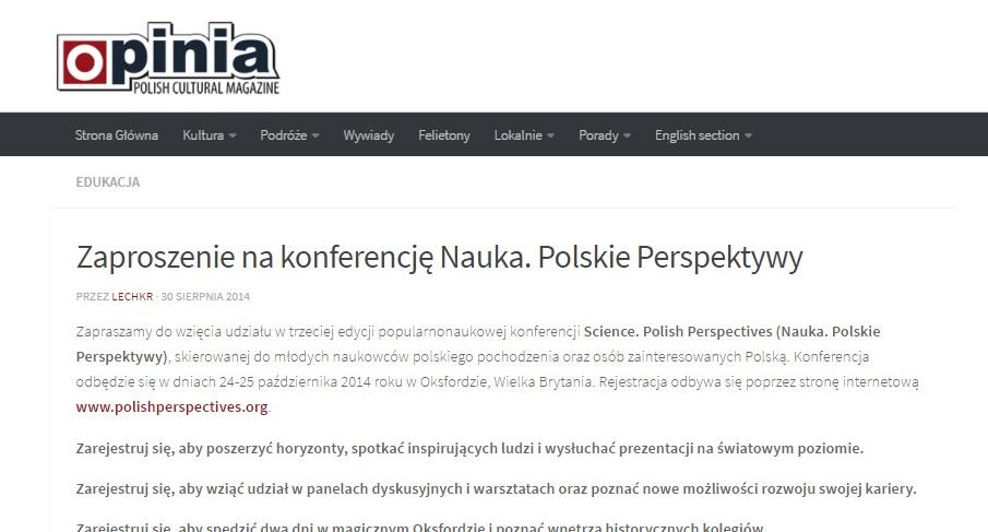 Zaproszenie na konferencję Nauka. Polskie Perspektywy - opinia.co.uk