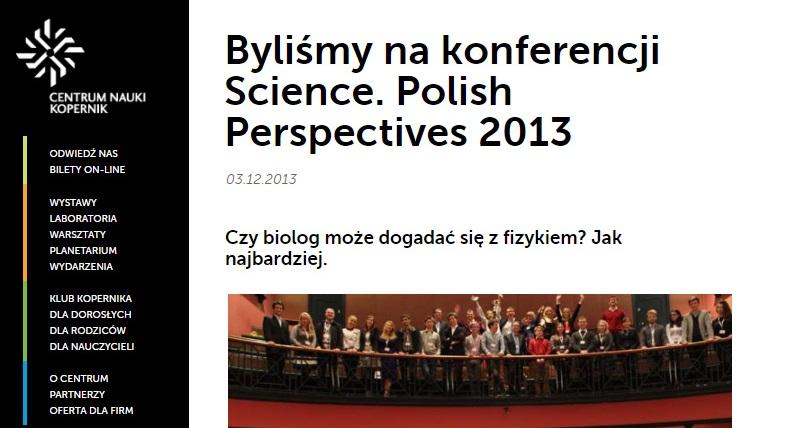 Byliśmy na konferencji Science. Polish Perspectives 2013 - kopernik.org.pl