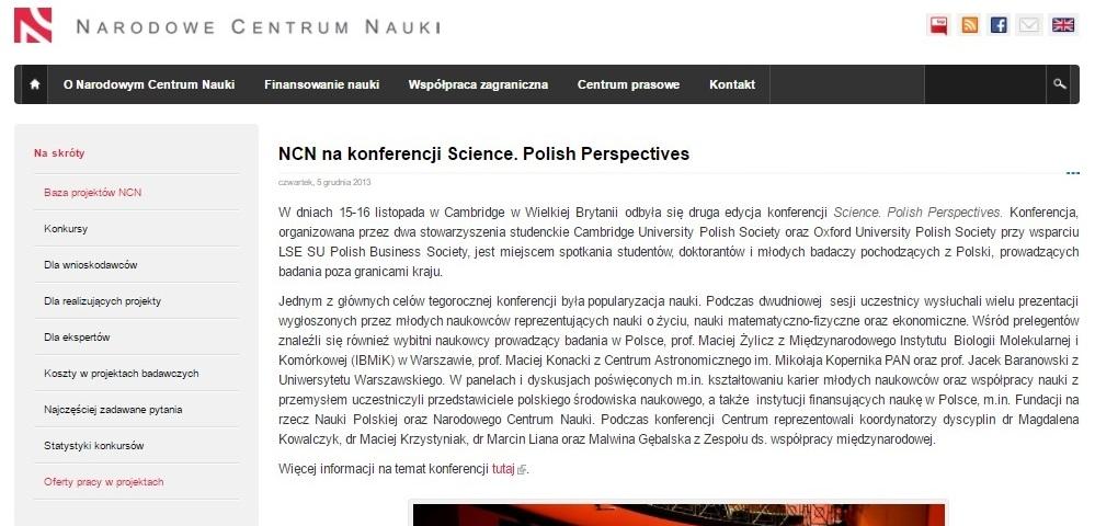 NCN na konferencji Science. Polish Perspectives - ncn.gov.pl
