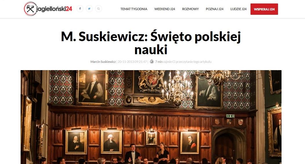 M. Suskiewicz: Święto polskiej nauki - jagiellonski24.pl