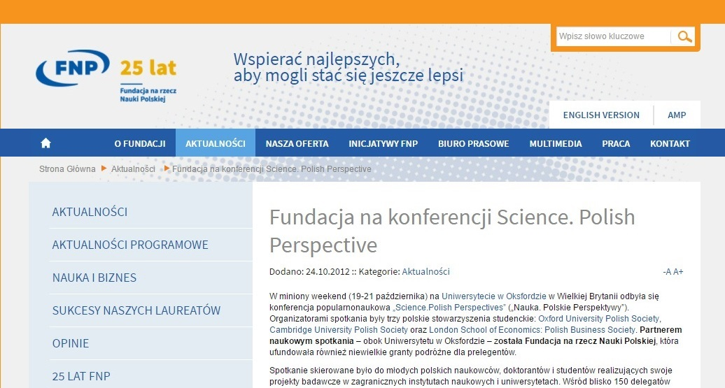 Fundacja na konferencji Science. Polish Perspective - fnp.org.pl
