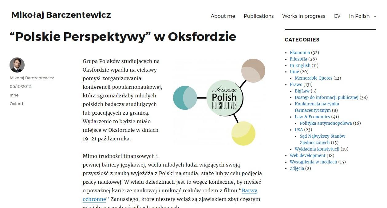 """""""Polskie Perspektywy"""" w Oksfordzie - barczentewicz.com"""