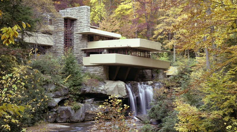 Fallingwater by Frank Lloyd Wright – a masterpiece of ecological design in architecture.