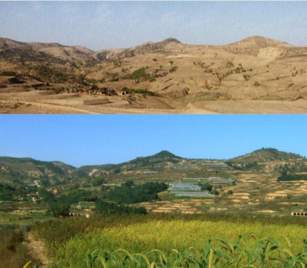 Before and after watershed restoration and regenerative agriculture in China's Loess Plateau. Image courtesy of  Arne Næss Project .