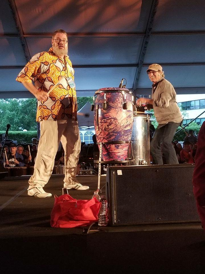 Co-facilitating 500 drummers at the Kennedy Center with Mickey Hart as part of the Sound Health Program in September 2018.