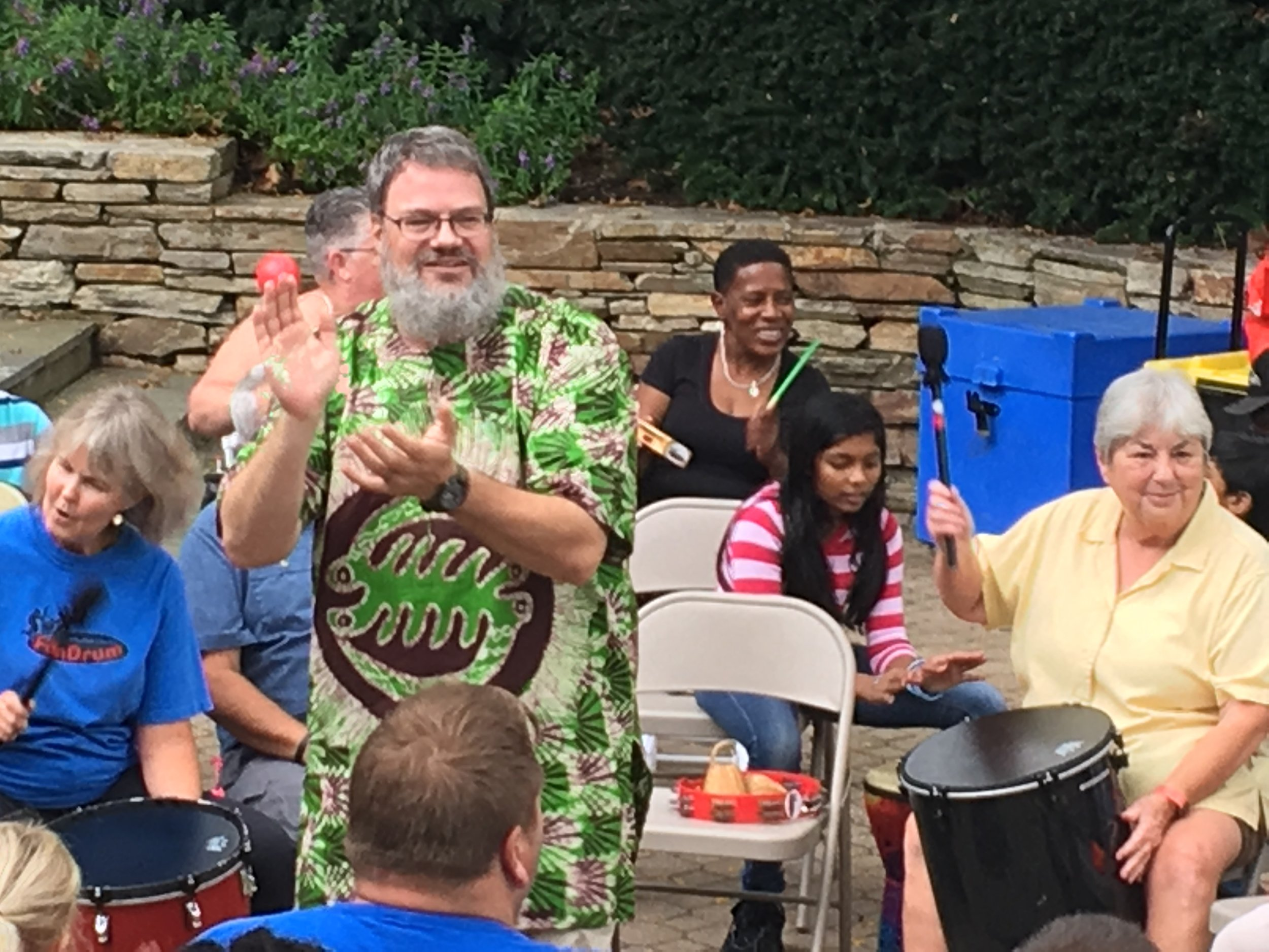 Have led an annual community drumcircle every year since 2003 at the Oakland Mills  International Festival.  Always fun when community shows up.
