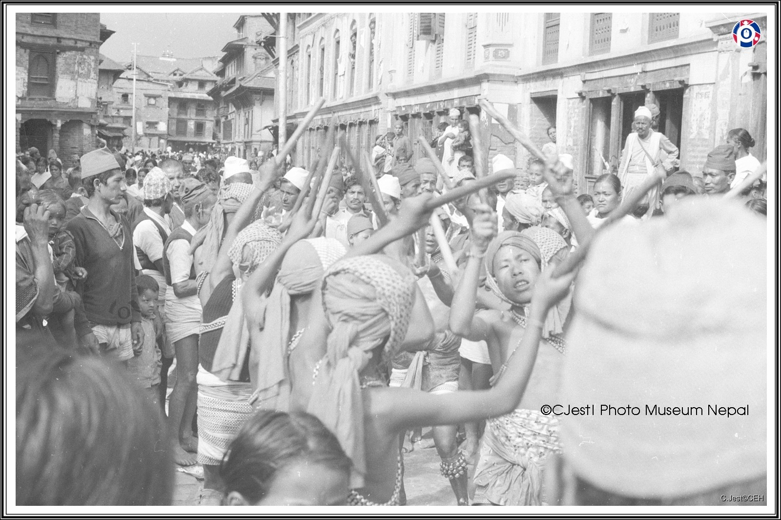 Old photo of a stick dance being done in Kathmandu, Nepal