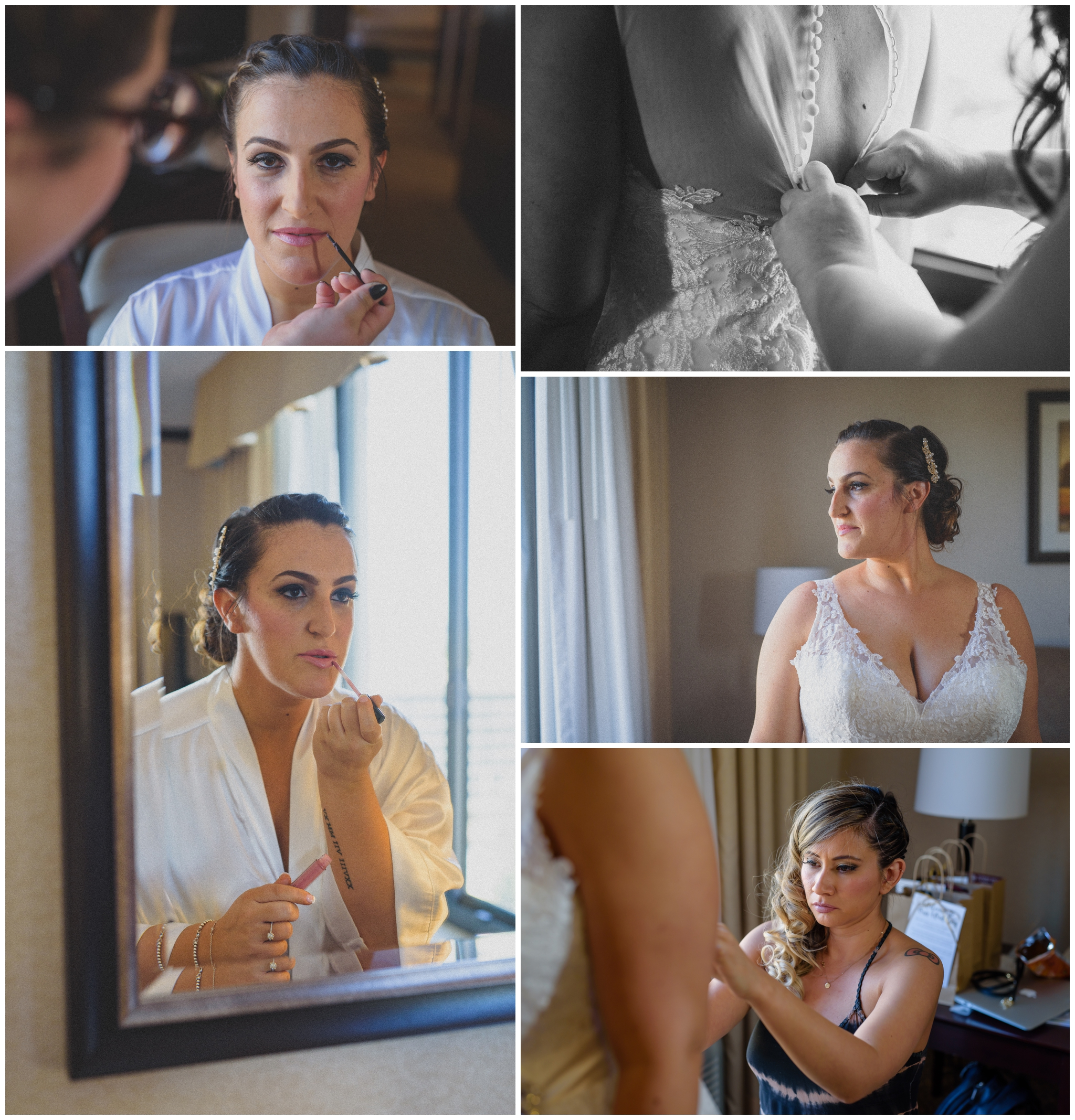 I love the getting ready shots. It's my chance to get creative even when the room is busy with the beautiful bride and bridesmaids getting ready. With time permitting we can get shots of every part of the process although generally we don't photograph the bride much when the make up is being applied. Stacey and her family are all so nice and their room had plenty of day light coming in which is always great.