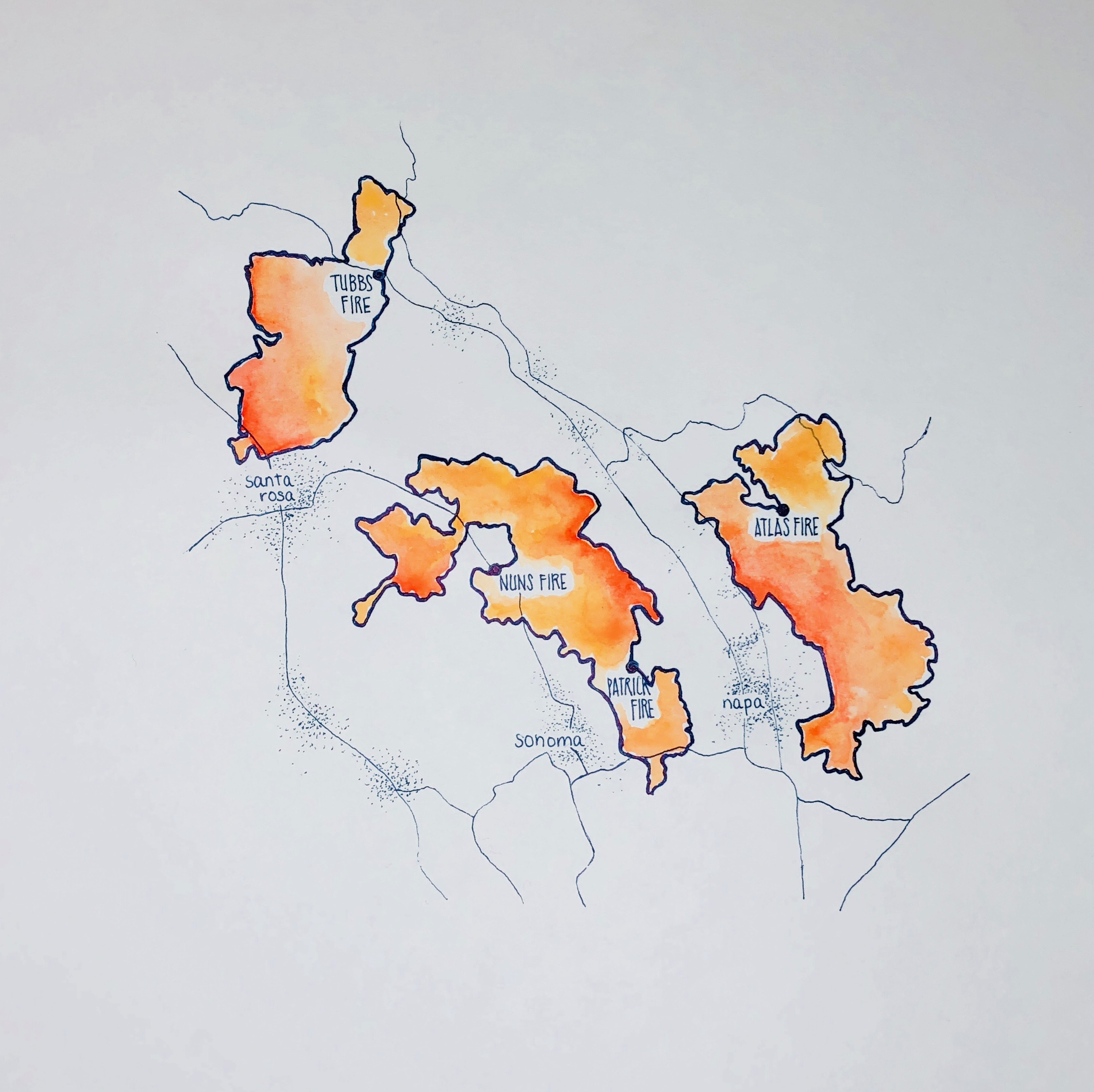2017 Napa Fires. Map of the extent of fires and origin of each fire. It's been one year since the fires that devasted Northern California. Over 145,000 acres burned in the Atlas, Tubbs, and Nuns fire (shown here). Over 40 lives lost and thousands lost their homes. Data from  San Francisco Chronicle .