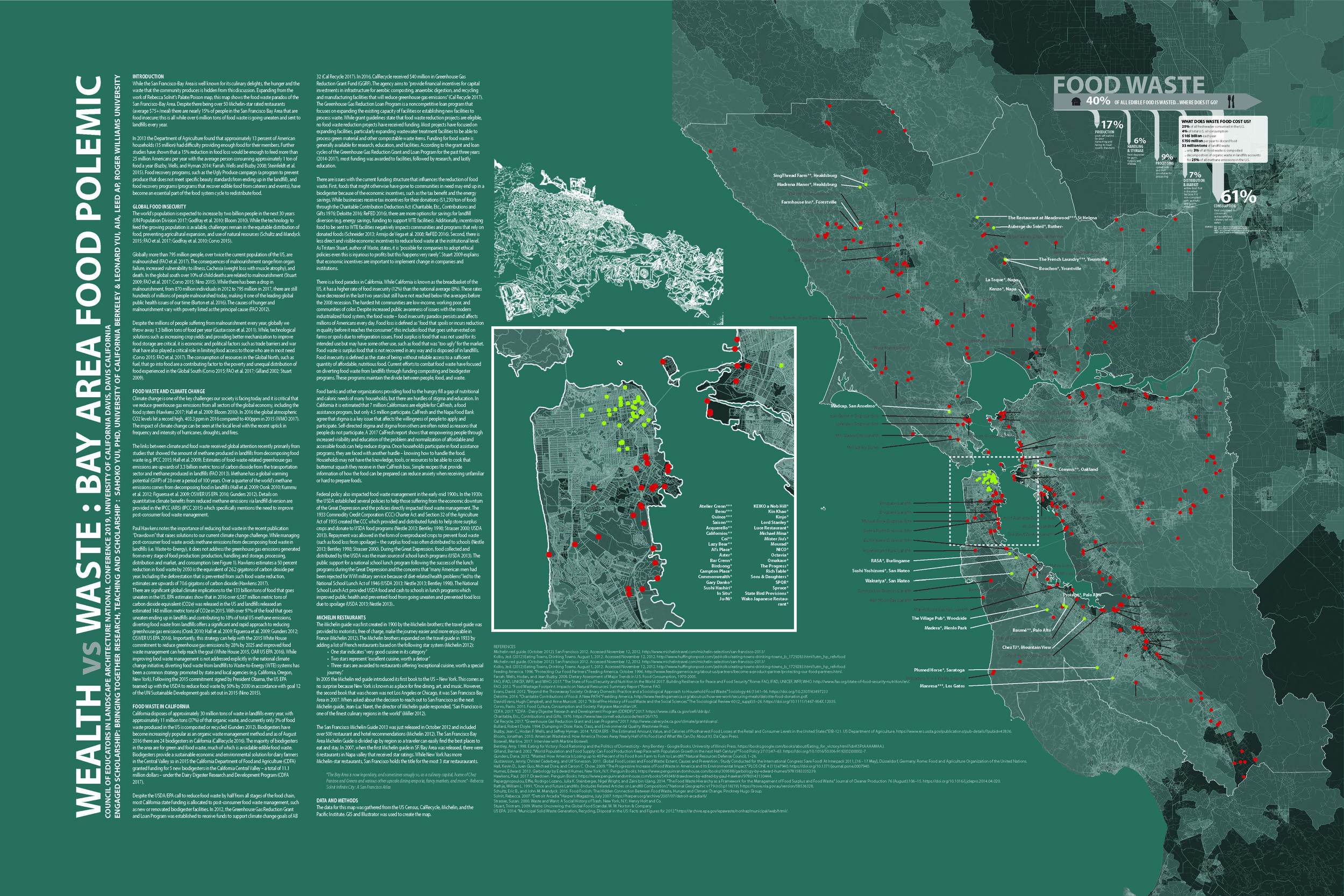 This map shows the location of waste facilities, location of Michelin star restaurants, and socially vulnerable communities. Poster presented at the Council of Educators in Landscape Architecture conference in Sacramento (2019). This was a collaborative project with Leonard Yui, Assistant Professor at Roger Williams University and presented at the Council of Educators in Landscape Architecture Conference in Sacramento on March 19, 2019. I took the lead on this project and gathered the GIS data and created the original map.
