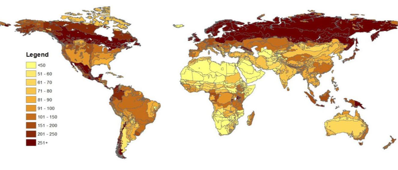 Global soil carbon stock (0-100cm) Mg C / ha (excluding wetlands). Data from the Harmonized World Soil Database v1.1 (2009).