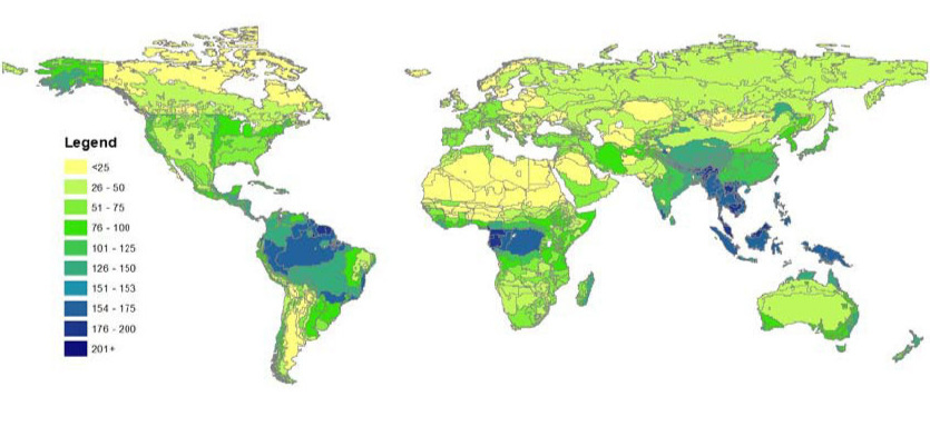 Global forest biomass carbon stocks Mg C / ha (excluding wetlands). Data from Houghton (2011), Kellndorfer (2011), Ruesch & Gibbs (2008), and Saatchi (2011). Map by Sahoko Yui.