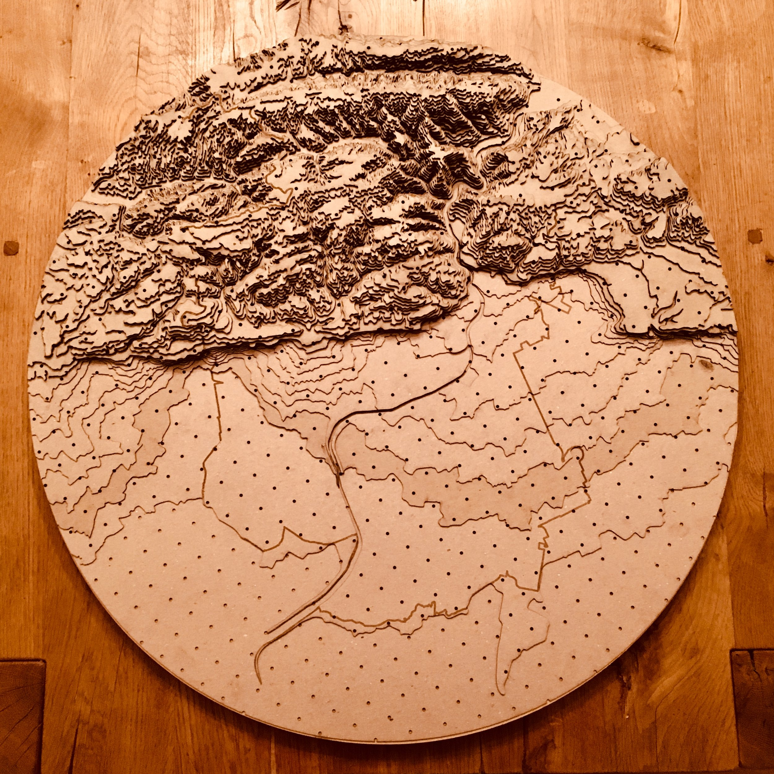 """From the elevation map, I created a laser cut model (30""""x30"""") of the western part of the Alameda Creek watershed."""