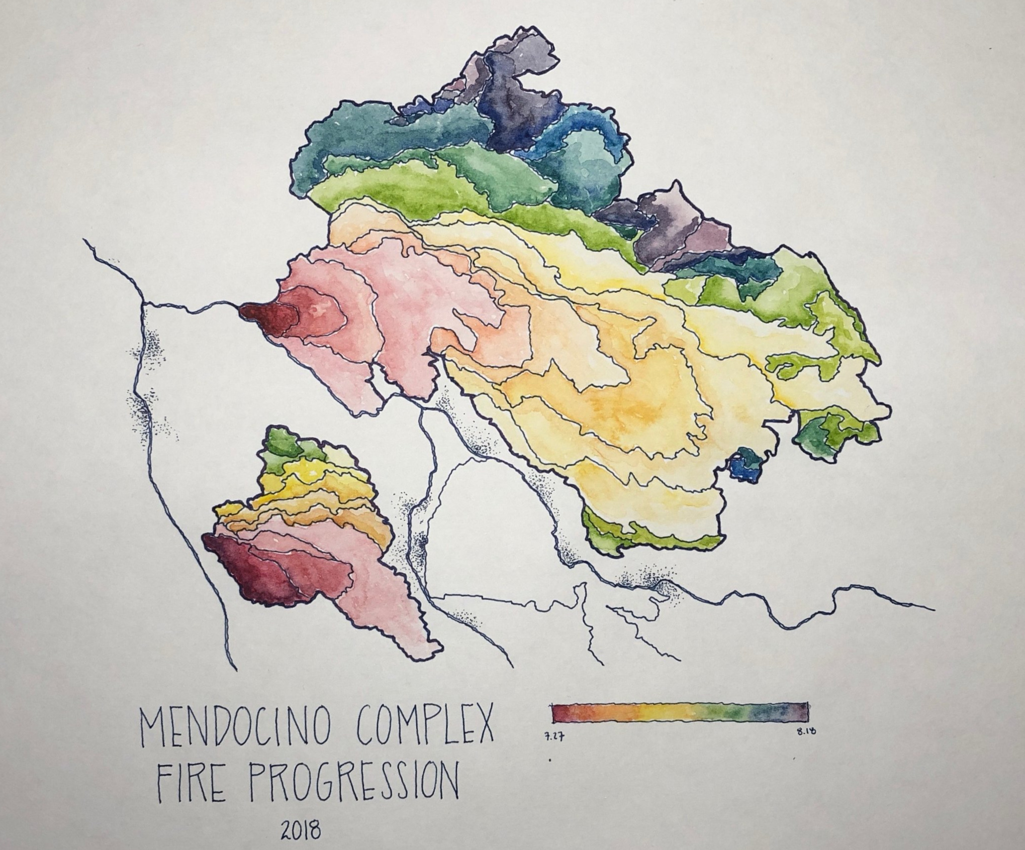 Roasted: Mendocino Complex Fire Progression. The Mendocino Complex Fire was the largest history recorded in California's history. This only shows the fire till mid-August. The fire was not fully contained till mid-September. Data from Inciweb.