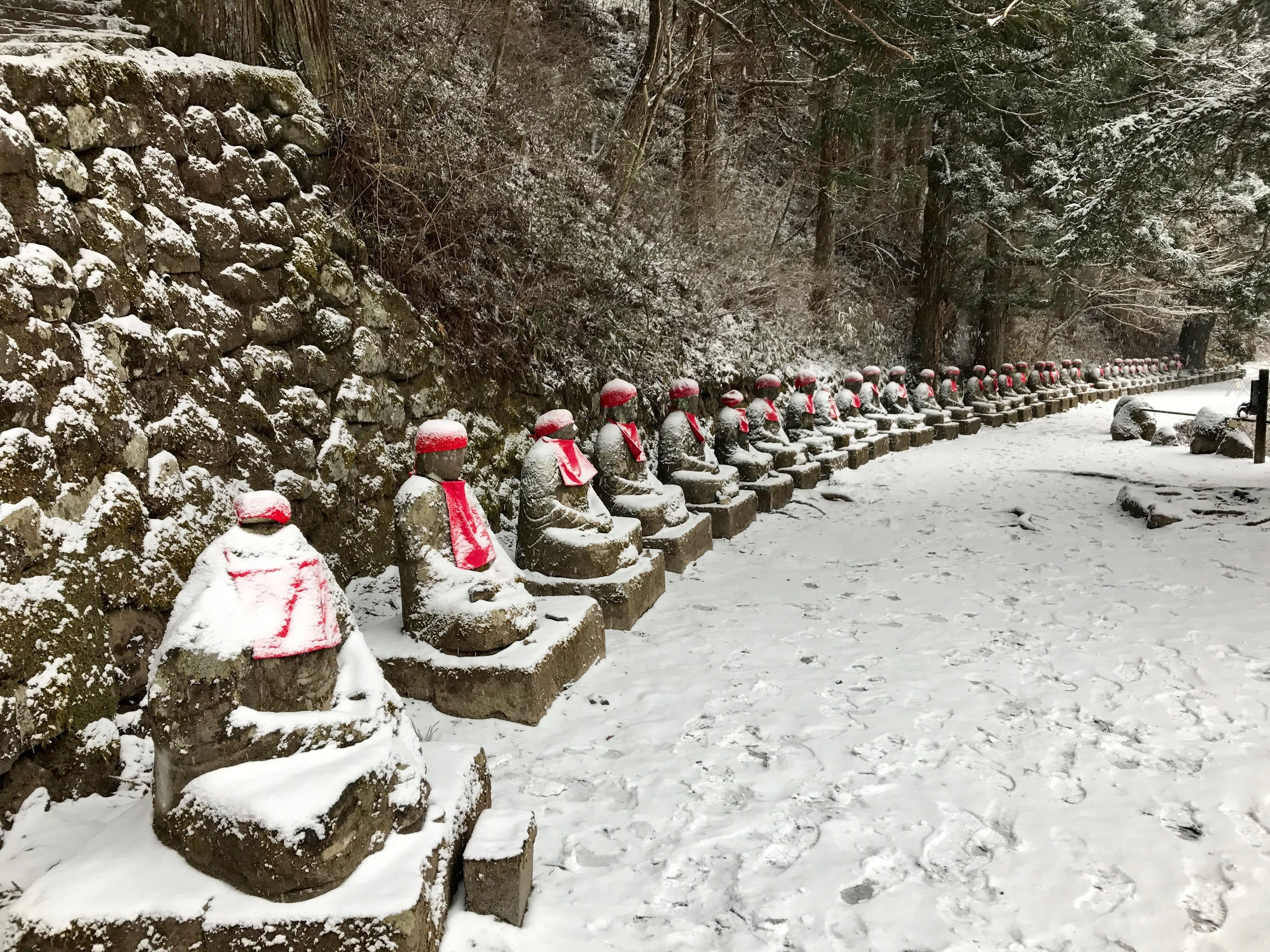 "The 'Ghost Jizo"" dressed for winter"