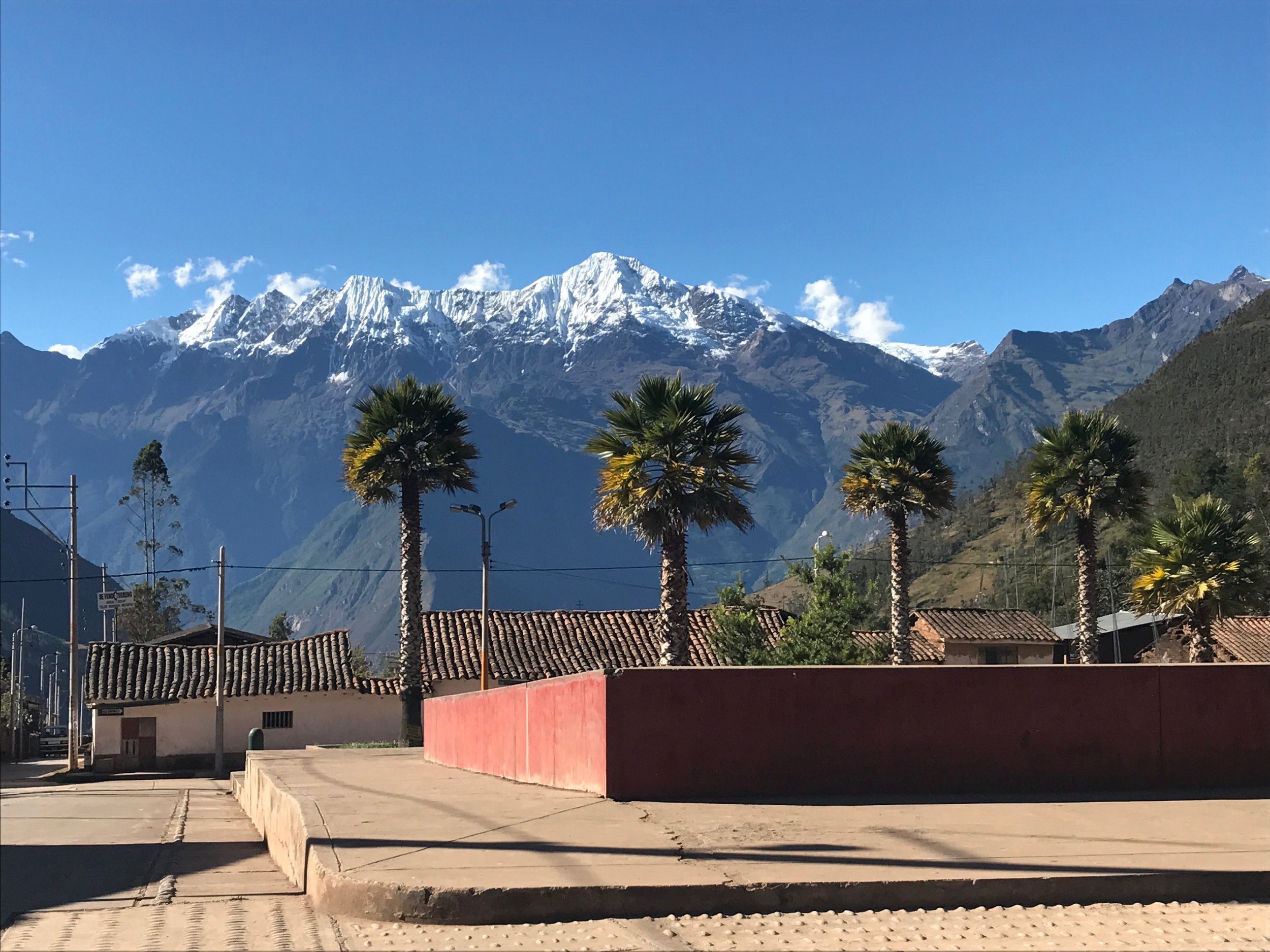 Main Square in Cachora - palm trees and snow capped peaks!