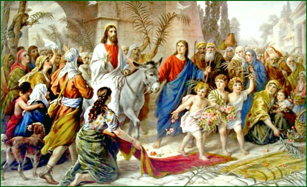 All of the intrigue of the greatest story ever told comes together at this point. We have the Son of God riding into the City of God. We have the crowds cheering him as their chosen king. We have the Jewish leaders fearful on two points: 1) concerned about losing their influence over the people and 2) afraid the Roman rulers will see the seeds of an insurrection and remove them from their positions of power. Looking back over the 2,000 years since these events happened, we can see that no one could have foreseen the results of this entry into Jerusalem.   http://1.bp.blogspot.com/-6q8IlifhxU4/UU8xVRZFbDI/AAAAAAAAJ4U/vHzV-PojPhs/s320/jesus.donkey.jpg