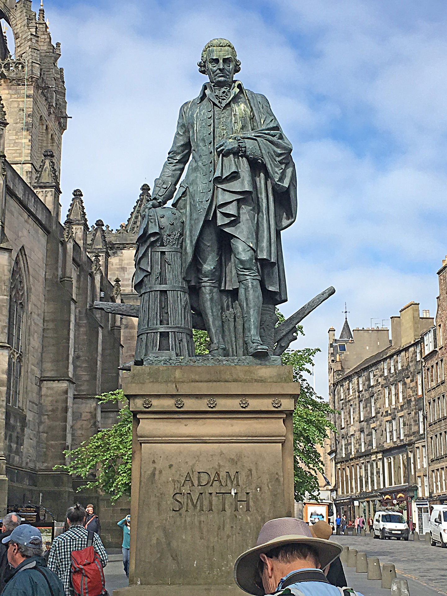 The Royal Mile is lined with statues of famous statesmen, ministers and educators.  One of my favorite statues is of Adam Smith who was educated at the Edinburgh University and one of the leaders of the Scottish Enlightenment.  Smith wrote the Wealth of Nations which is still known as one of the leading analyses of macro economics.