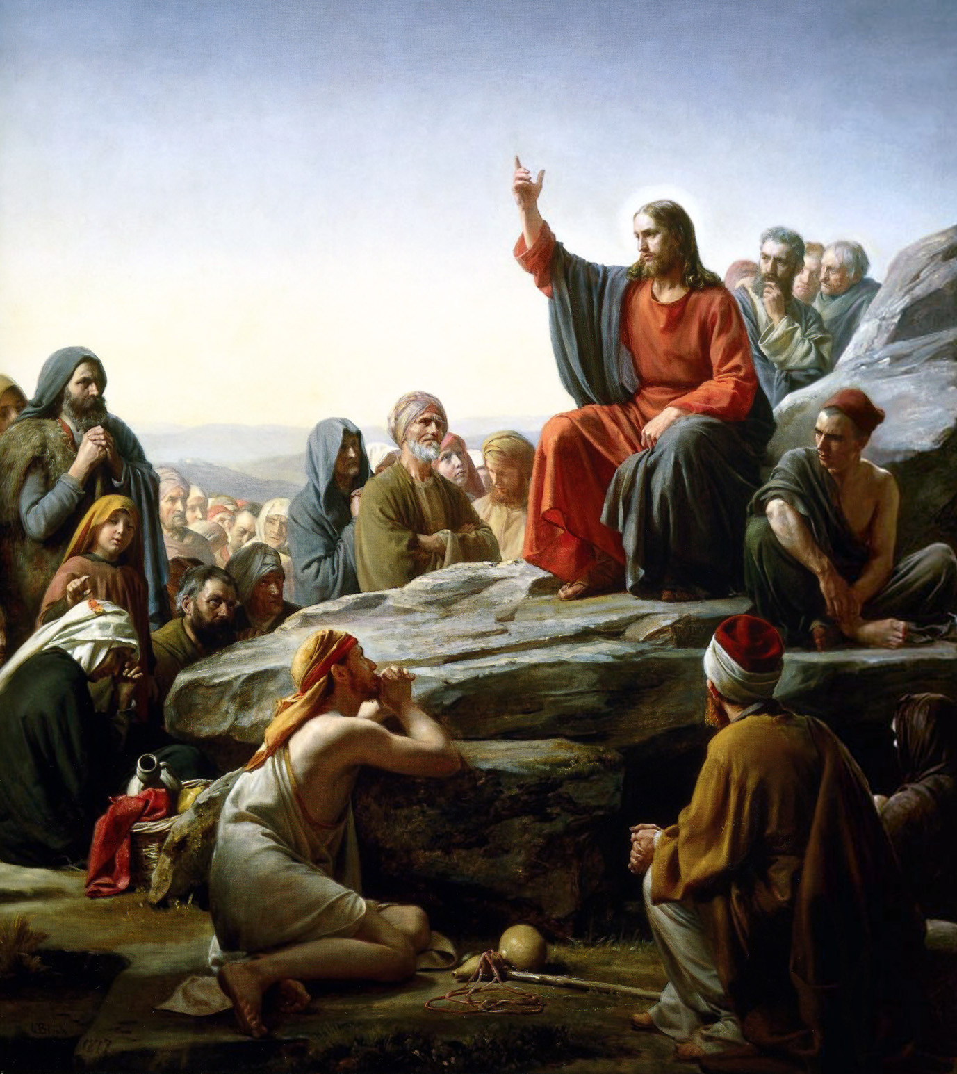 In his Sermon on the Mount, Matthew chapters 5 – 7, Jesus upset the whole Jewish social order by redefining the foundation of God's community. It is no longer the rich and powerful who find favor with God, but the poor, ill, infirm, oppressed and outcast. This Carl Bloch (1834-1890) painting titled  The Sermon on the Mount  is currently in the Museum of National History.   https://upload.wikimedia.org/wikipedia/commons/thumb/9/96/Bloch-SermonOnTheMount.jpg/800px-Bloch-SermonOnTheMount.jpg