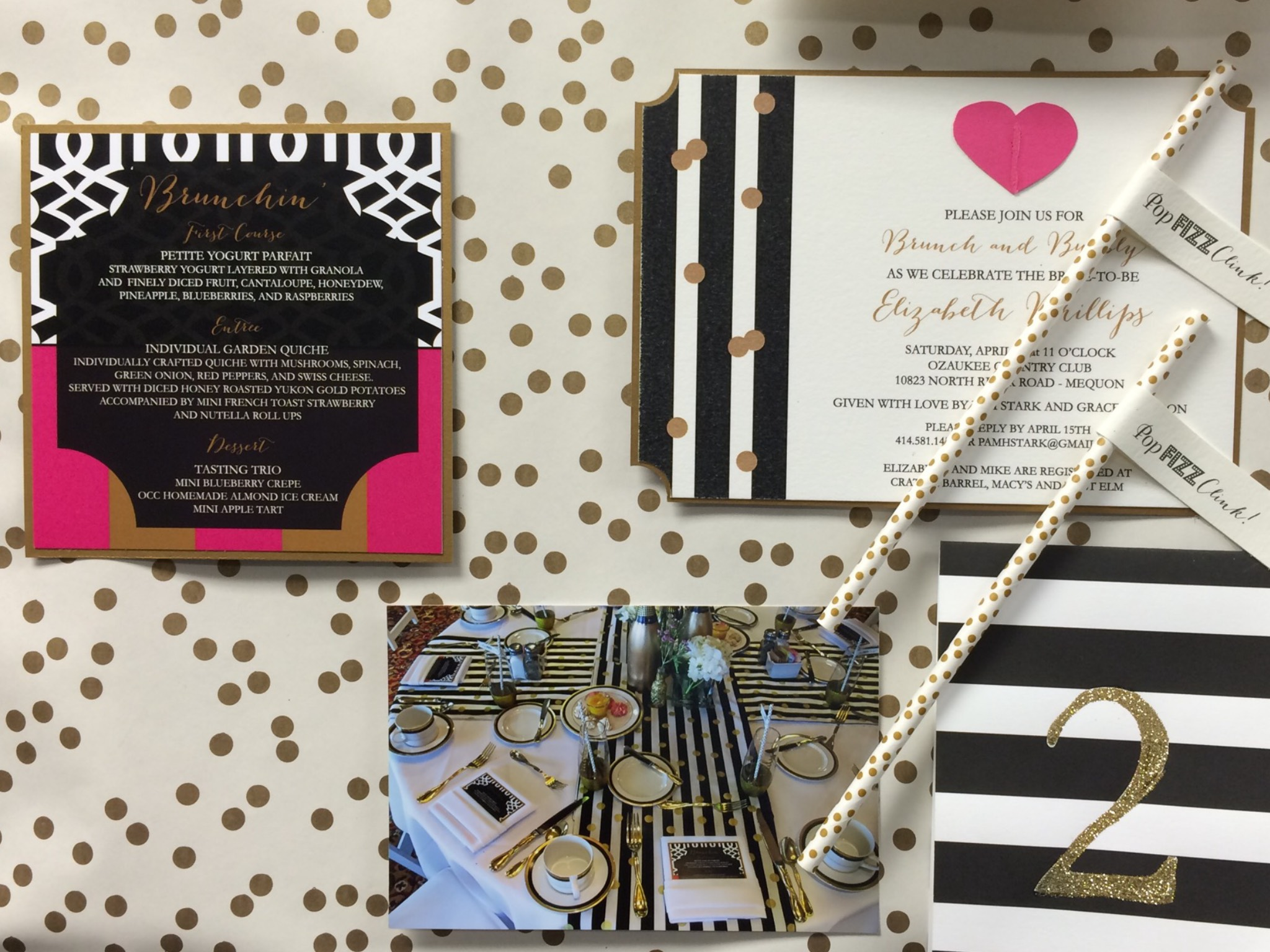 KATE SPADE INSPIRED WEDDING SHOWER.  INVITATIONS WERE SENT IN PRETTY BOXES WITH LOTS OF CONFETTI, POP - FIZZ - CLINK!  SPEAKING OF DETAILS, THIS HOSTESS DIDN'T MISS ONE.