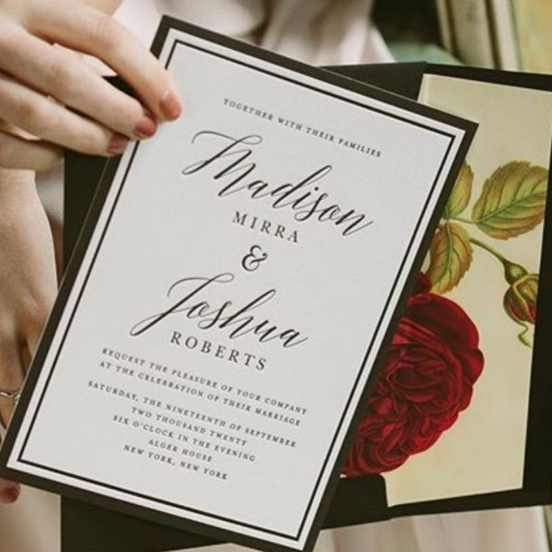 TIMELESS LETTERPRESS INVITATION PAIRED WITH A VINTAGE FLORAL LINER CREATING A ROMANTIC FEEL. INVITATION AND LINER BY BELLA FIGURA.