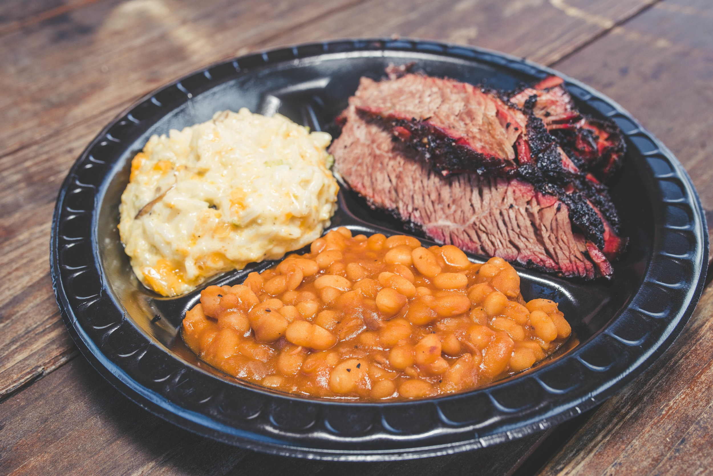 BRISKET WITH A SIDE OF CREAMED CORN & BAKED BEANS