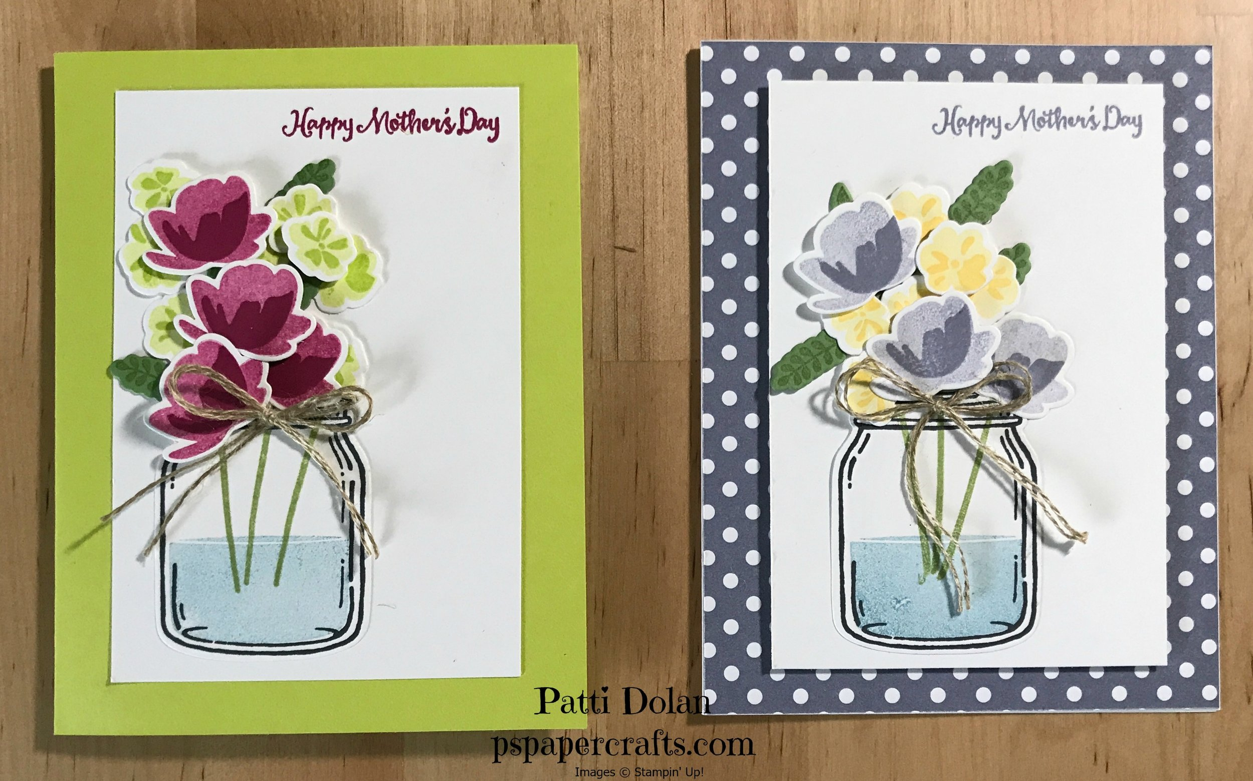 The first card is made with Lemon-Lime Twist and Berry Burst. The second card is  made with Wisteria Wonder and Daffodil Delight.