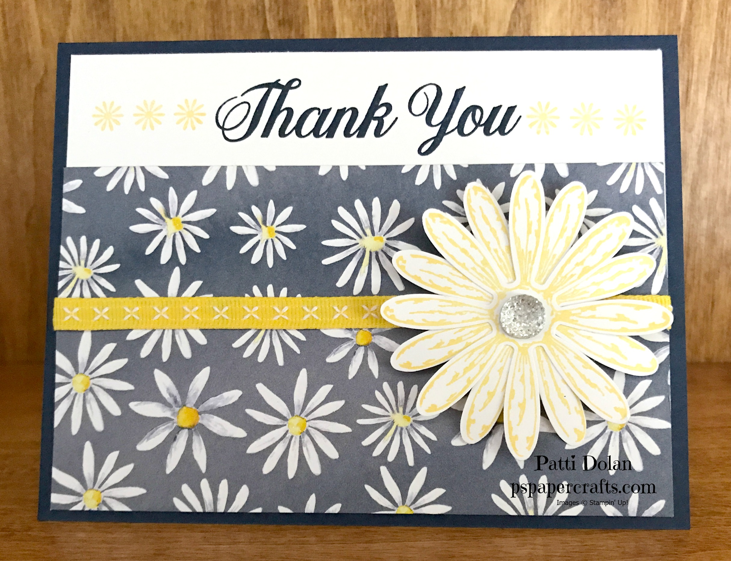 This card was made with Night Of Navy Cardstock and Ink, Daffodil Delight  Ink and Ribbon and the Delightful Daisy Bundle and Daisy Delight DSP.  See all the products at the bottom of this blog.