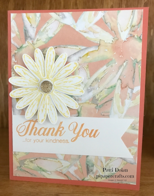 This card was made with Calypso Coral Cardstock and Peekaboo Peach and Daffodil Delight Ink along with the Daisy Delight Bundle and Delightful Daisy Designer Series Paper.  See all the products at the bottom of this blog.